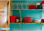 East Village Kitchen Open Shelving Reorganization Before and After