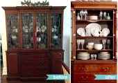 Upper West Side Dining Room China Cabinet Reorganization Before and After