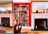 Greenwich Village Living Room Bookcase Reorganization Before and After