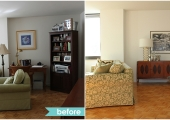 Union Square Living Room Reorganization Bar Before and After