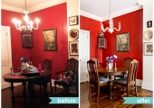 Upper West Side Dining Room Reorganization Table Before and After