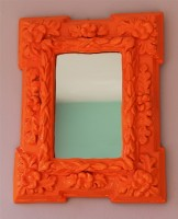 neon orange mirror - SOLD