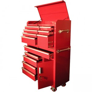 large red metal tool storage as filing cabinet