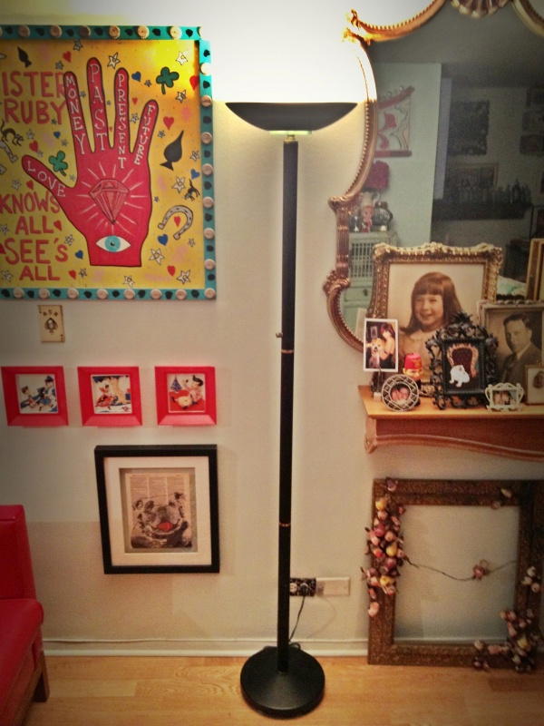 25yr old black halogen floor lamp in need of a glammy makeover.