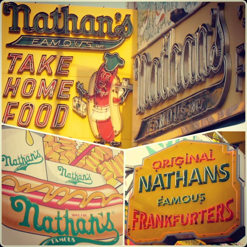 Vintage yet vibrant signs at Coney Island's own Nathan's. Home of the hot dog eatting contest.