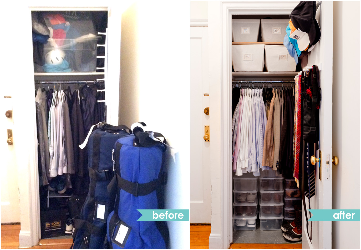 Closet organization before and after photos from a recent client.